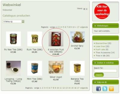 Klik het product aan wat u wil bestellen